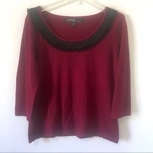 KASPER Burgundy Black 3/4 Length Knit XL Sweater